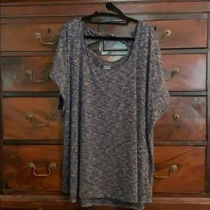 BCG workout/yoga top blue heather size 3X NWOT